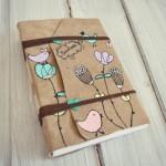 jurnal handmade piele - pasari flori